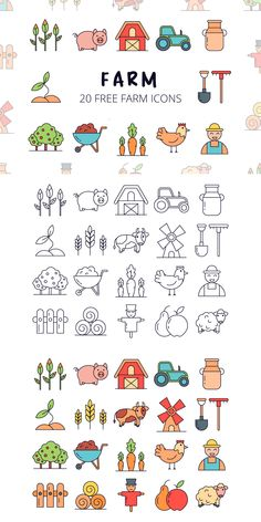 Farm Vector Free Icon Set is a useful thematic collection of images Farm Vector, Vector Art, Doodle Icon, Doodle Art, Icon Design, Design Web, Design Layouts, Flat Design, Vector Design