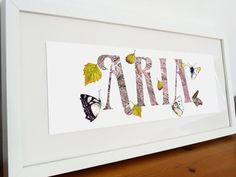 Personalised Name Sign Butterflies Pink & Yellow by BloomCocoon