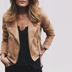fashion, beige leather jacket, street style.