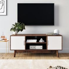 Nathan James Wesley Brown Scandinavian TV Stand with White Cabinet Door (Fits TVs up to 32 in.) 74401 - The Home Depot - Nathan James Wesley Brown Scandinavian TV Stand with White Cabinet Door (Fits TVs up to 32 in. Living Room Tv, Apartment Living, Living Room Furniture, Tv Stand Ideas For Living Room, Stand For Tv, Tv Stand Hack, Simple Tv Stand, Diy Tv Stand, Apartment Interior