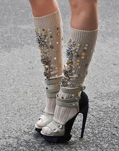 Embellishments – jak and jil, tommy ton, miu miu embellished socks, suede black and grey strap heels Socks And Heels, Knee Socks, High Socks, Look Fashion, Fashion Shoes, Womens Fashion, Milan Fashion, Fashion Clothes, Girl Fashion