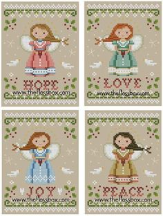 Christmas Angel Pattern collection includes 4 patterns with Love, Hope, Joy and Peace. The patterns all have stitch size 55 x 76. These patterns are available individually as well. If you are interested in printed patterns, please send a message for postage and printing fees. Thanks