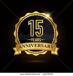 15th golden anniversary logo, 15 years anniversary celebration with ring and ribbon. - stock vector
