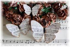 Music Sheet Butterflies for Scrapbooking. $3.25, via Etsy.