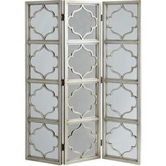 Helena Room Divider - Silver Visually, using this screen with mirrors would… Living Room Themes, My Living Room, Living Spaces, Mirror Room Divider, Silver Home Accessories, Closet Renovation, Moroccan Room, Mirrored Picture Frames, Classic Cabinets