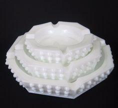 Vtg Fenton Hobnail Ashtray White Milk Glass Octagon Tobacciana Nesting Set of 3 #Hobnail