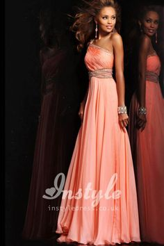 beaded one shoulder orange chiffon long prom dress with ruched bodice; the color on this dress