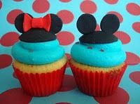 Mickey and Minnie mouse cupcakes. Perfect with 2 Blondes & A Boutiques Invitation! http://www.etsy.com/listing/161834541/pastel-polka-dot-mouse-birthday?ref=shop_home_feat