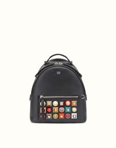 FENDI BACKPACK - in black leather with studs