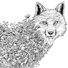 Kerby Rosans Doodle Coloring pages colouring adult detailed advanced printable Kleuren voor volwassenen coloriage pour adulte anti-stress kleurplaat voor volwassenen Line Art Black and White Ræv-Animorphia.jpg (6000×6000)