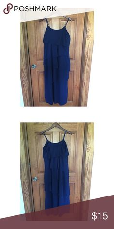 Long tiered dress from Old Navy Maxi style, navy colored tiered dress from Old Navy. Size MEDIUM, adjustable straps. Super comfy! Fabric polyester. Old Navy Dresses Maxi