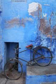 blue wall and bike