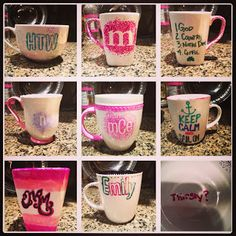 Sharpie Mugs on Girl's Night - Mom's night out craft #babysitter http://austin-babysitter.com/   Cute girls weekend project.