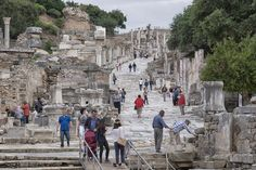 curetes street in ephesus - curetes Street is one of the main roads of the ancient city of ephesus.the Street is seen here from the library side and atthe background after the curve is the concert hall