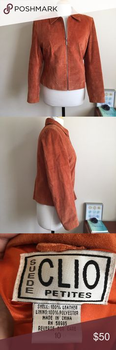 Clio Petite Orange Authentic Suede Zip Jacket Perfect for fall! Orange Suede jacket. Zipper works perfectly. Few marks (may come out if cleaned) but in overall great condition. Live long and poshper 🖖🏼 clio Jackets & Coats