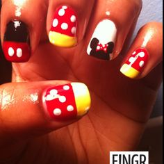 Mickey and Minnie mouse nails love it