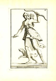 Antique print: picture of Roman goddess Diana hunting