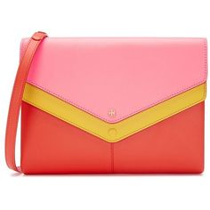 Tory Burch Avery Tri-Color Cross-Body ($395) ❤ liked on Polyvore featuring bags, handbags, shoulder bags, pink, pink purse, tory burch crossbody, pink handbags, pink crossbody and red handbags