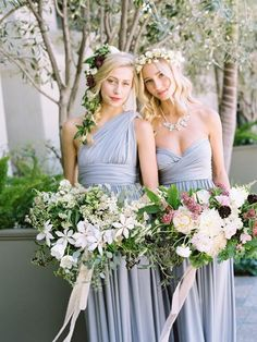 Bridesmaids on beautiful floral crowns   #bridesmaid #bridesmaiddresses   http://www.roughluxejewelry.com/