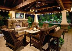 Poolside, fireside...just pick a side.  #poolside #outdoorspaces - outdoor fireplace decor