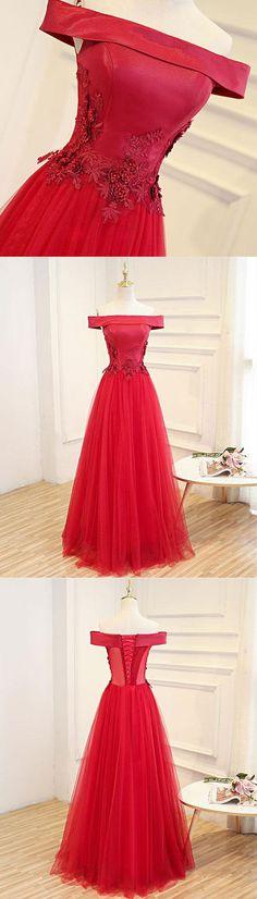 Red tulle off shoulder long A-line prom dress, red evening dress #prom #dress #promdress #weddingdresses