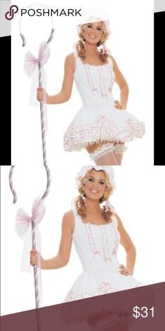 Until 10/28: 3 piece adult Bo Peep Costume XS - M Classic Halloween outfit. Pink and white. Ruffle details. Elastic waist skirt and three-size hook and eye closure to fit and flatter XS - M. Comes with three pieces: bonnet, corset, and skirt. Does not come with stockings, cane, petticoat, or any other accessory. No flaws, dry cleaned and stored in Ziploc bag. Ships the next day. Leg Avenue Dresses