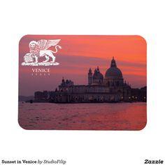 Sunset in Venice Rectangular Photo Magnet