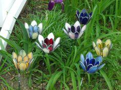 Handcrafted,Leaded,Stained Glass, Tealight Holder, Garden Stake, Yard Art, Flowers, Garden Art. $24.99, via Etsy.