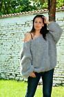 Designer Grey mohair sweater fuzzy hand knitted fluffy jumper by EXTRAVAGANTZA Angora Cardigan, Chunky Knit Cardigan, Oversized Jumper, Mohair Sweater, Wool Sweaters, Turtleneck, Pull Mohair, Mohair Yarn, Juicy Couture