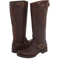 Frye Veronica Slouch - Wide Calf (Dark Brown Extended Calf Shine... ($190) ❤ liked on Polyvore featuring shoes, boots, brown, knee-high boots, brown cowgirl boots, slouchy knee high boots, brown leather boots, vintage cowboy boots and cowboy boots