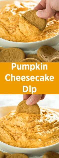 Pumpkin Cheesecake Dip - The best, super easy pumpkin dip that is made with only five ingredients! This dip has a rich pumpkin pie flavor, the perfect dessert dip for all of your fall parties! Pumpkin Pie Dip, Pumpkin Pie Cheesecake, Cheese Pumpkin, Cheesecake Desserts, Sugar Pumpkin, Dessert Dips, Breakfast Desayunos, Cream Cheese Dips, Dip Recipes