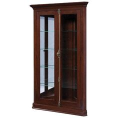 Amish Ashley Corner Curio Cabinet Brighten a corner with a custom made curio. Display your treasures with fine wood furniture you'll have for always. The Ashley offers 4 adjustable shelves with touch lighting. Amish made in America. #curiocabinet