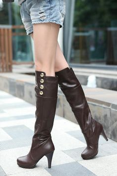 - Upper Material: PU - Outsole Material: Rubber - Type: Knee Boots - Style: Knight Boots - Material: PU - Types of Heels: Spike heel - Boot opening: 13.77 inch - Shoe Width: M) Medium(B - Shaft: 16.14