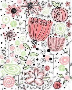 Rosa Blumen illustrierte Wand-Kunstdruck Rosa Blumen illustrierte Wand-Kunstdruck The post Rosa Blumen illustrierte Wand-Kunstdruck appeared first on Ideas Flowers. Doodle Drawings, Doodle Art, Flowers Illustration, Pattern Illustration, Silkscreen, Flower Doodles, Doodle Flowers, Drawing Flowers, Rose Doodle