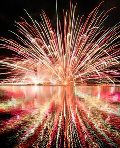 Fireworks display in Yachiyo lake akiota hiroshima japan