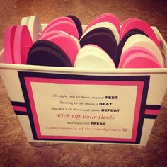 Flip flop basket for the wedding dance floor! Perfect for guests to throw off their heels and dance the night away! :)
