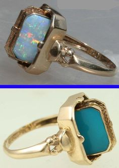 Vintage Jewelry 1920 Antique Reversible Flip Ring Natural Opal and Persian Turquoise Yellow Gold Cocktail Ring Or Antique, Antique Rings, Antique Jewelry, Vintage Jewelry, 1920s Jewelry, Antique Necklace, Steampunk Necklace, Opal Jewelry, Turquoise Jewelry