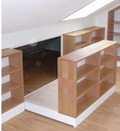 Hidden Storage Behind Bookcase in Attic