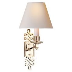 Visual Comfort Lighting AH2010PN-NP Alexa Hampton Ginger Single Arm Sconce in Polished Nickel with Natural Paper Shade