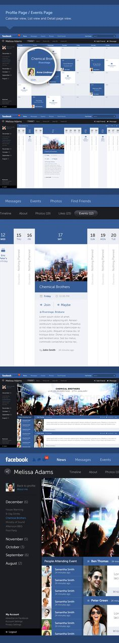 Facebook - New Look Concept by Fred Nerby, via Behance... interesting visualizations of activity on calendars