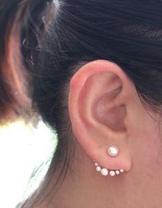Pearl Ear Jacket- Sterling Silver Pearl Earring, Faux Pearl Earring, Double Pearl Earring, Ear Jacket, Wedding Jewelry, Pearl earrings