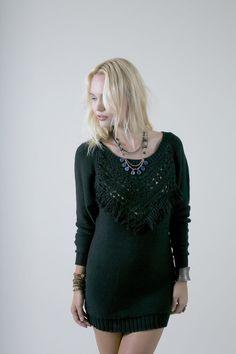 Fringe Mini Sweater Dress