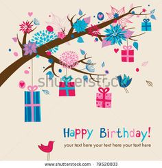Birthday's card with hanging gifts on a branch - stock vector