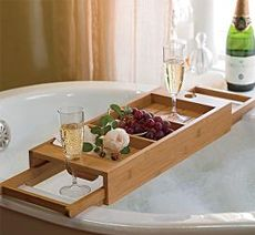 couple's bath caddy great for anniversary or just date night