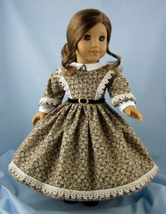 1860s Civil War Era Dress - fitsAmerican Girl Doll 18 Inch - Gold and Brown Floral on Tan - Doll Clothing