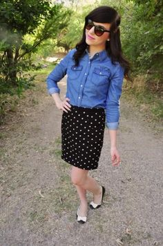 chambray top paired with a conservative skirt and fun flats is perfect for the office #fashion