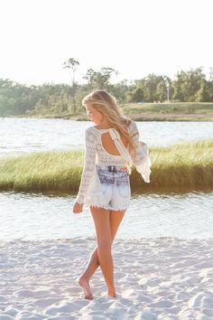 Lace top  high waisted shorts featured in Beach photoshoot by @eleephoto on the mississippi gulf coast featuring Ivy's summer outfits! Ivy Boutique is located in D'Iberville, MS! Call us 228-354-8499 or visit us on Instagram @ivyboutiquems or Facebook.com/growyourstyle!