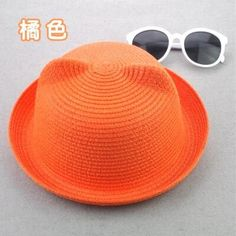 2016 Fashion Straw Hats Summer Baby Ear Decoration Lovely Child Character Girls And Boys Sun Hat Solid Children Floppy Panama
