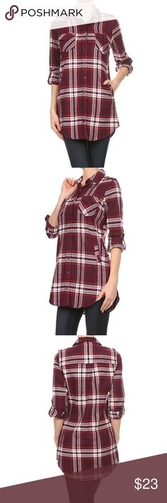 Women's Shoulder Tab Plaid Flannel Tunic Shirt Flannel Plaid, long body roll up sleeve top with a button down closure, front chest and side pockets. 100% Cotton Imported Double chest pockets, side pockets and rounded hem. Tabs to hold rolled up sleeve and hem. Please refer to our size chart provided in the last product images for further details. Tops Button Down Shirts