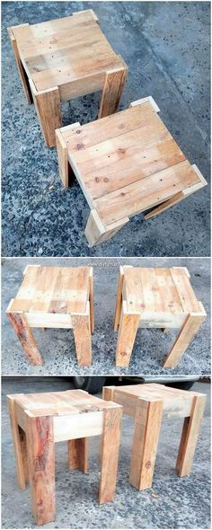 What a unique set of the pallet side table furnishings has been put forward here. - What a unique set of the pallet side table furnishings has been put forward here! Wood Pallet Planters, Wood Pallet Recycling, Pallet Garden Furniture, Pallet Crafts, Pallet Projects, Wood Pallets, Table From Pallets, Outdoor Furniture, Pallet End Tables